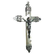 Engraved Inscription 1892 Antique French Mother of Pearl and Silver Communion Crucifix Cross