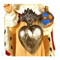 Antique 19th c. French Silver Flaming Heart Ex Voto Reliquaire/Reliquary