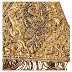 Exquisite Antique French Napoleon III Era Gilt Metallic Embroidery Religious Stole (Etole)