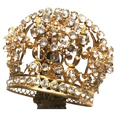 RARE Tremblant Antique Nineteenth Century French Gilded Brass Diadem Santos Crown