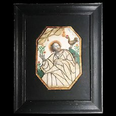 Antique 18th Century Framed Religious Monastery Work Reliquary,  St Peter