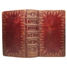 Antique Louis XVI Era Red Morocco Ecclesiastic Brevriarium Binding circa 1775