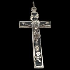 Antique 19th Century French Wooden, Metal and Silver Pectoral Crucifix