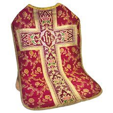 Antique Religious Lyon Silk Damask Chasuble