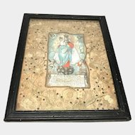 Antique 18th Century Italian Framed Embroidery Devotional Ex Voto