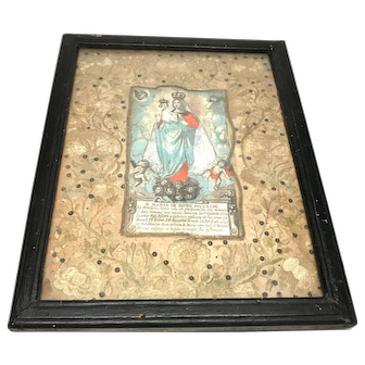 Antique 18th Century Italian Framed Embroidery Devotional Ex Voto