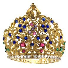 Extraordinary Large French Gilded Brass Baroque Diadem Crown
