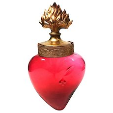 RARE Large Antique 19th Century French Hand Blown Ruby Glass Sacred Heart Holy Water Flacon