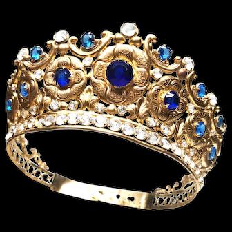 Antique Nineteeth Century Gilded Brass French Santos Diadem Crown