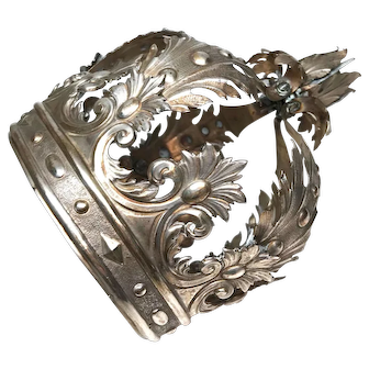 RARE Large Antique Nineteenth Century Neapolitan Italian Silver Santos Crown