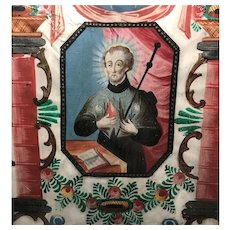 Exceptional 18th Century Framed Hand Painted Religious Panel Saint Francois Xavier