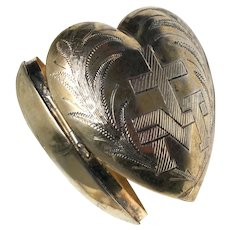 Exquisite Antique Vermeil and Silver Sacred Heart Ex Voto with Engraved Provenance