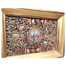 Exquisite Antique 18th Century French Paperolle Reliquary with Hand Colored Engraved Medallion