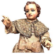 Magnificent Rare Antique Eighteenth Century French Wooden Santos Statue Enfant Jesus