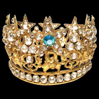Antique 19th Century Gilded Bronze French Religious Santos Crown