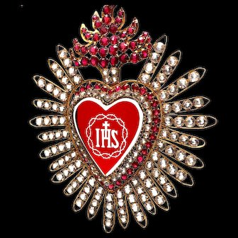Extraordinary Antique 19th Century Ruby Glass Sacred Heart Ex Voto Candleshade Ornament