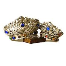Rare Pair of Antique Jeweled  Santos Crowns Argente