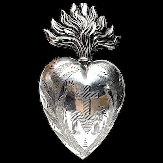 LARGE Antique French Silver Sacred Heart Ex Voto Reliquary