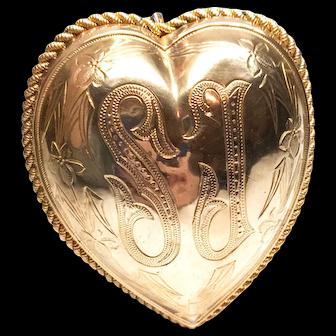Extraordinary Large Antique Pectoral Sacred Heart Ex Voto