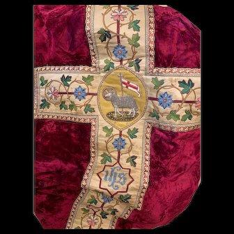 EXQUISITE Antique Nineteenth Century Velvet Stumpwork Embroidery French Ecclesiastic Chasuble