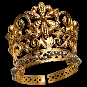 RARE Small French Gilded Brass and Pearl Religious Santos Crown
