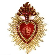 Magnificent LARGE Sacred Heart of Jesus Ex Voto w/ Strass (paste stones) and Ruby Glass Center