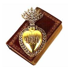 Large Antique Nineteenth Century French Gilded Sacred Heart Ex Voto Reliquaire
