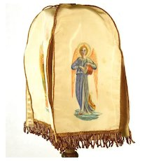 Antique 19th Century French Silk Ciborium Veil  w/Fra Angelico Angels