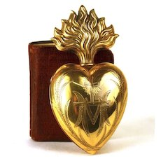 Antique 19th Century Gilded Brass Sacred Heart Ex Voto Reliquary