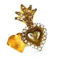 Small Antique 19th Century Gilded Brass/Metal Sacred Heart Ex Voto with Strass/Glass Stones