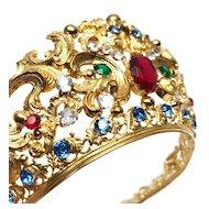 Antique 19th Century Gilded Brass Santos Diadem w/Strass