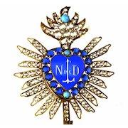 Rare Antique 19th c. French Gilded Brass Sacred Heart Ex Voto w/Blue Glass Center