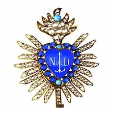 Rare Antique 19th c. French Gilded Brass Sacred Heart Ex Voto w/Blue Glass Center