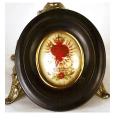 Antique 19th Century French Framed Sacred Heart Ex Voto/Reliquary