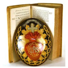 """Antique French """"Art Populaire"""" Reliquary Sacred Heart Voto"""