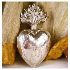Antique 19th Century French Silver Sacred Heart of Mary Reliquaire Voto