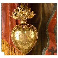 Antique 19th Century French Gilded Brass Sacred Heart Reliquary