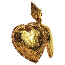 Large Pectoral Gilded Brass/Vermeil Sacred Heart Ex Voto Reliquary