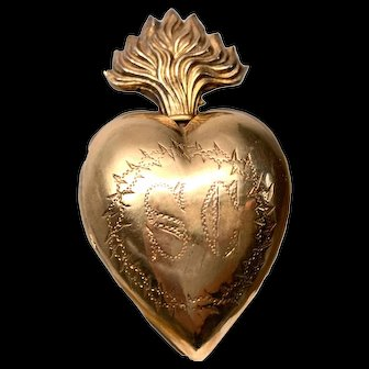 Exquisite Antique French Gilded Brass Crown of Thorns Sacred Heart Ex Voto