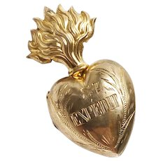 RARE Tiny Antique French Gilded Brass Sacred Heart Ex Voto Saint Expedit