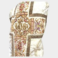 French Fiddle Back Chasuble with Extravagant Silk and Metallic Embroidery