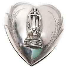 Exquisite Large French Silver Sacred Heart Ex Voto Notre Dame de Lourdes