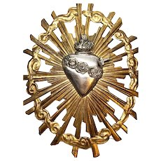 Antique French Gilded Cast Bronze and Silvered Pierced Sacred Heart Rayonnant