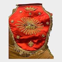 Exquisite French Red Silk and Agnus Dei Metallic Stumpwork Ecclesiastic Vestment Cope