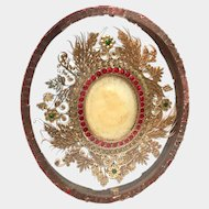 RARE LARGE Nineteenth Century Monastery Double Sided Paperolle Relic with Agnus Dei Wax Medallions