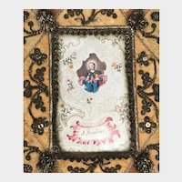 RARE Antique Eighteenth Century Silk Framed Monastery Work Reliquary/Ex Voto Saint Jacobus