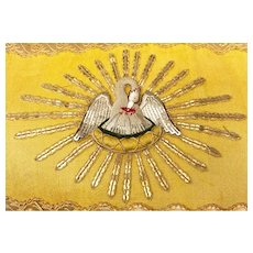 STUNNING Antique Nineteenth Century French Religious Banner with Stump Work Embroidery