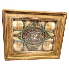 Antique 18th Century Framed Monastery Work Paperolle Embroidery Reliquary