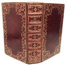 RARE Red Morocco Antique French Religious Prayer Book Psalter Heures de Noailles