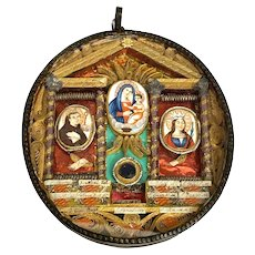 RARE Antique Nineteenth Century Italian Paperolle Reliquary with Three Hand Painted Medallions